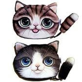 【C×D】しっぽが付いてよりキュートな 猫顔 ポーチ2個セット