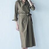 【ベルメゾン】1組2枚:カシュクールシャツ×ラップ風スカートセットアップ / C80380 / カーキ / 13号 x1Fa9