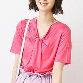 【ベルメゾン】きれいめリネン混の胸元デザインカットソー半袖プルオーバー x1Fa9 / E58521 / ピンク / 5L