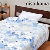 [花衣柄ブルー/シングル] 西川/衿付き 2枚合わせ毛布