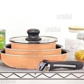 [5点セット/オレンジ]マイライフ ふっ素加工IH対応クックウェアミニ5点セット/HB-3703