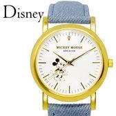 天然ダイヤ【珍しいデニム素材のベルト 腕時計】ディズニー ユニセックス