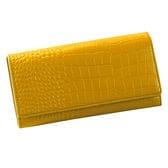 【イエロー】牛床革大きく開く多機能財布