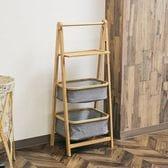 竹製折りたたみランドリーラック A式(バスケット2段+棚板1段)