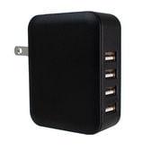 【ブラック】 4ポート USB充電器 ACアダプター RiC-AC-USB_4P/BK