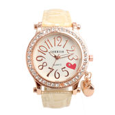 ラインストーン輝く ハート文字盤のチャーム付き腕時計 SRF15-BEI レディース腕時計