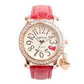 ラインストーン輝く ハート文字盤のチャーム付き腕時計 SRF15-RED レディース腕時計