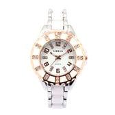 ゴールド装飾にラインストーン セラミック風ベルト腕時計 SRHI12-WHTレディース腕時計