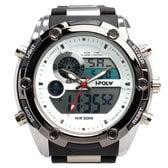 デジアナ時計 アナログ&デジタル クロノグラフ 防水時計 HPFS618A-WHBK