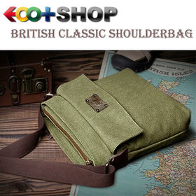 [グリーン]ブリティシュクラシック・帆布×床革ショルダーバッグ | 上品な質感&タフさが魅力!6つのポケットで小物をしっかり整理!旅行先でも活躍します。