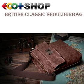 [レッド]ブリティシュクラシック・帆布×床革ショルダーバッグ | 上品な質感&タフさが魅力!6つのポケットで小物をしっかり整理!旅行先でも活躍します。