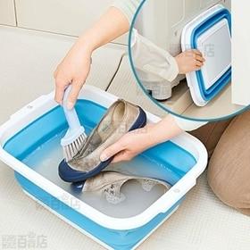 薄く畳める洗い桶 8.5リットル ブルー