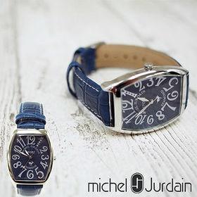 ミッシェルジョルダン(MICHEL JURDAIN)/腕時計 5P天然ダイヤモンド トノー型 革ベルト/メンズ/ネイビー/SG-1000-8
