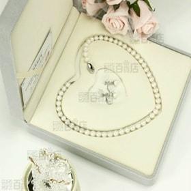 本真珠ネックレス&イヤリング 大粒7.5-8.0mm 豪華2点セット ハートキーパーボックス付