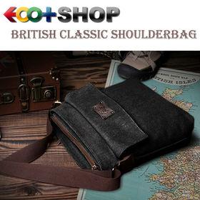 [ブラック]ブリティシュクラシック・帆布×床革ショルダーバッグ | 上品な質感&タフさが魅力!6つのポケットで小物をしっかり整理!旅行先でも活躍します。