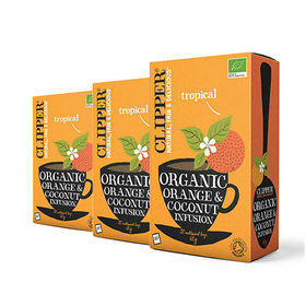 [6箱]クリッパー オーガニック オレンジ&ココナッツ(エコティーバッグ) 60g | オレンジとココナッツの美味しい組み合わせです!