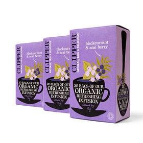 [6箱]クリッパー オーガニック ブラックカラント&アサイベリー(エコティーバッグ) 50g | リラックスしたい時にお召し上がりください!
