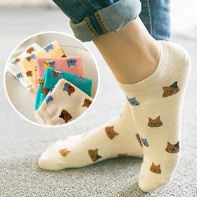 新型 ファッション 猫柄 女の靴下 レディース かわいい 6足セット