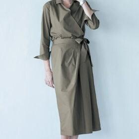 【ベルメゾン】1組2枚:カシュクールシャツ×ラップ風スカートセットアップ / C80380 / カーキ / 13号