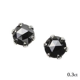 [0.3ct/鑑別カード付]プラチナ ブラックダイヤモンドピ...