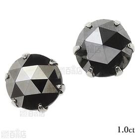 [1.0ct/鑑別カード付]プラチナ ブラックダイヤモンドピ...