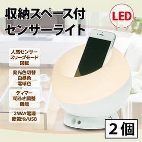 [2個セット]収納スペース付 LED人感センサーライト (発...