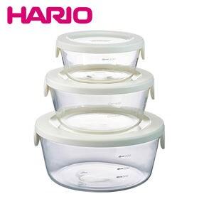 [オフホワイト]HARIO(ハリオ)/耐熱ガラス製保存容器丸...