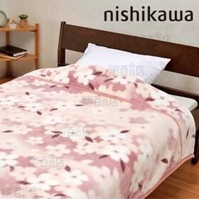 [花衣柄ピンク/シングル] 西川/衿付き 2枚合わせ毛布