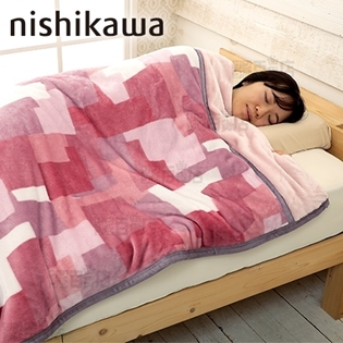 [ピンク/シングル] 西川/暖か吸湿発熱わた入り やわらか毛布 (2枚合わせ)|生地を2枚合わせにした「マイヤー毛布」タイプ。空気をたっぷり含みポカポカ快適に。滑らかで心地よい肌触りを。