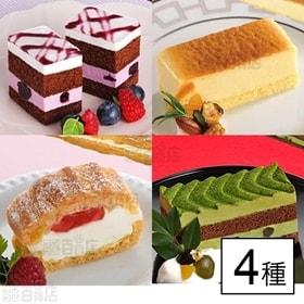 【4種4個】フリーカットケーキ ブルーベリー・ベイクドスフレ...
