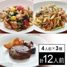 【冷凍】ミールキット 4人前×3種(ハンバーグデミソース、鶏...