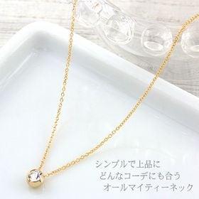 【ゴールド】ワンストーンスワロフスキーネックレス(M)