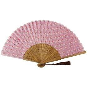 (傘ピンク)着物屋さんのシルク扇子 竹久夢二