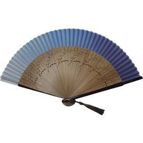 (手染めグラデーション青)着物屋さんの高級シルク扇子。