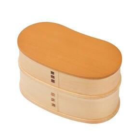 豆型二段曲げわっぱ弁当箱 淡黄(たんこう) | 天然木製曲げわっぱ弁当箱です