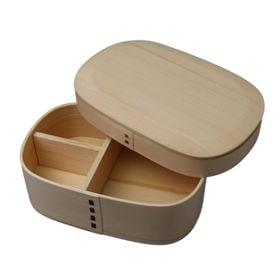 曲げわっぱ 弁当箱 かぶせ型丸み四角一段 ナチュラル | 天然木製の伝統工芸品 曲げわっぱのお弁当箱です