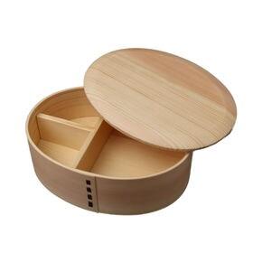 曲げわっぱ 弁当箱 置蓋型丸み四角一段 ナチュラル | 天然木製の伝統工芸品 曲げわっぱのお弁当箱です