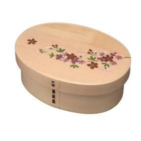 曲げわっぱ 弁当箱 一段 桜 | 天然木製の伝統工芸品 曲げわっぱのお弁当箱です