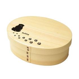 曲げわっぱ 弁当箱 一段 我が家の愛犬シリーズ -ブルドッグ- | 紀州漆器職人が仕上げた天然木製の伝統工芸品 曲げわっぱのお弁当箱です