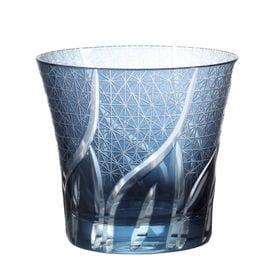 【スカイブルー】手作り色ガラス 切子グラス タンブラー   職人技光る手作り切子グラスです