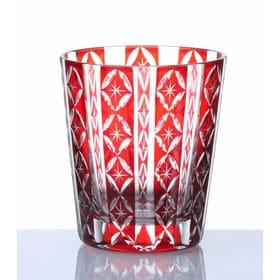 手作り色ガラス 切子グラス オールド レッド QD-289/R | 職人技光る手作り切子グラスです