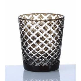 手作り色ガラス 切子グラス オールド ブラック QD-288/G | 職人技光る手作り切子グラスです