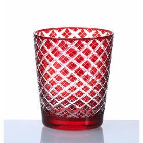 手作り色ガラス 切子グラス オールド レッド QD-288/R | 職人技光る手作り切子グラスです