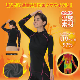 【S-M/ブラック(ピンクライン)】加圧コンプレッションウェア裏ボアタイプ | 着るだけ通勤時間がエクササイズに!筋肉活動量UP!