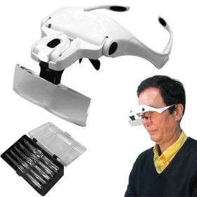 ハンズフリー作業用ルーペ(LEDライト・倍率変更レンズ5枚付...