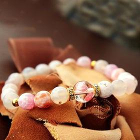 天然石アゲート(瑪瑙)ブレスレット【ピンク系×ハート】WPS