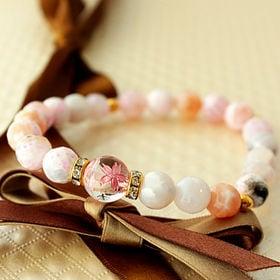 天然石アゲート(瑪瑙)ブレスレット【ピンク系×花桜】WPS