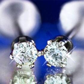 GE 【鑑別書付】天然ダイヤモンド計0.1ctプラチナ使用ピ...