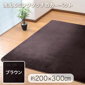 【200×300cm/ブラウン】洗えるミンクタッチカーペット