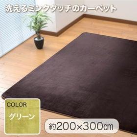 【200×300cm/グリーン】洗えるミンクタッチカーペット